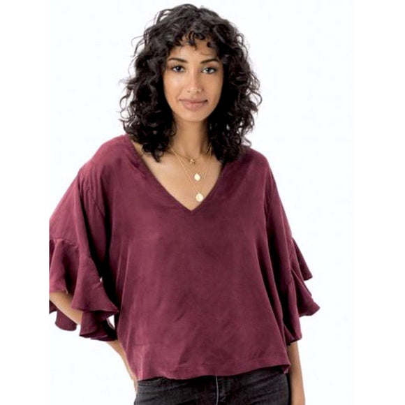 Atley Wine Ruffle Sleeve Top Lovestitch