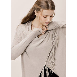A Carys Cement Fringe Sweater Lovestitch