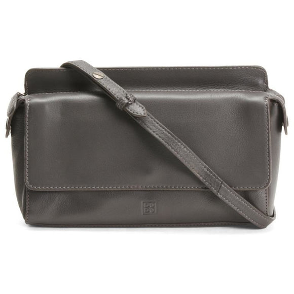 Grace Grey Italian Leather Crossbody Handbag