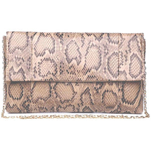 Essie Vegan Brown Snake Clutch Crossbody Handbag
