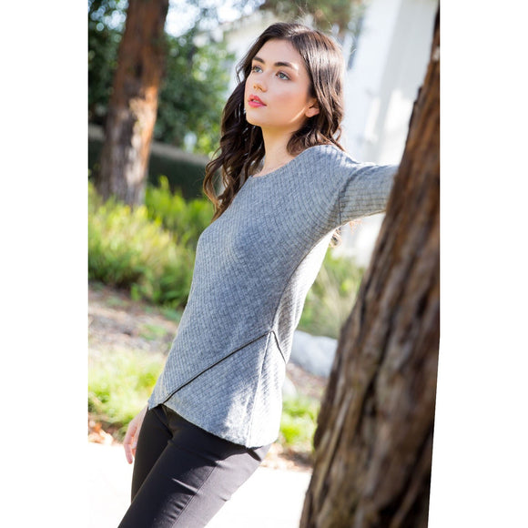Audrey Asymetrical Ribbed THML Sweater jh311-hg