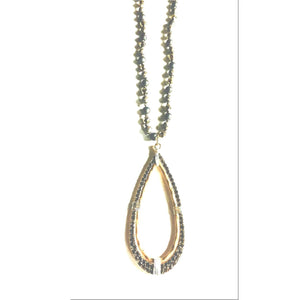 Abley Gold Rhinestone Pendant Beaded Long Necklace