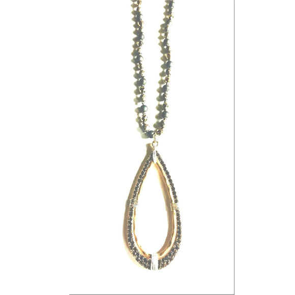 Abley Pyrite Pendant Beaded Long Necklace