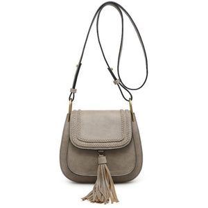 Jennifer Grey Braided Flap Over Tassel Crossbody Handbag