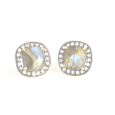 Lux Collection Square  Labradorite & Topaz Studs