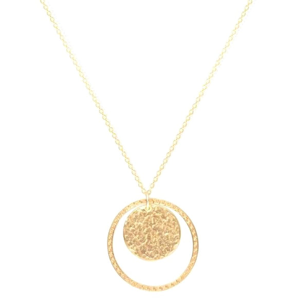 Julie Gold Hammered Oval Necklace