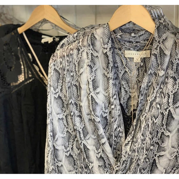 Arlee Silky Snakeskin Grey Print Blouse-Fig Tree Jewelry & Accessories