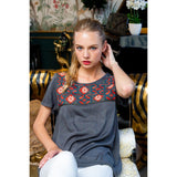 Trina Charcoal THML Embroidered Top