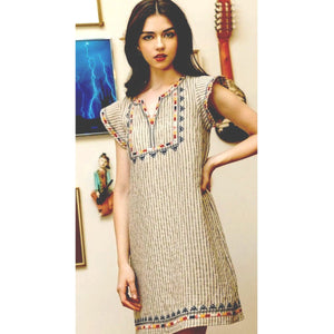 Ayla THML Beige Embroidered Dress FTM1254-1