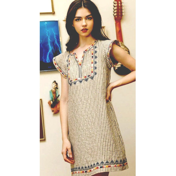 Ayla THML Beige Embroidered Dress FTM1254-1-Fig Tree Jewelry & Accessories