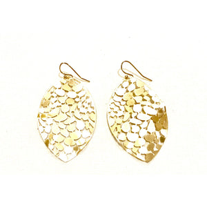 Kate Shiney Filigree Gold Pear Earrings