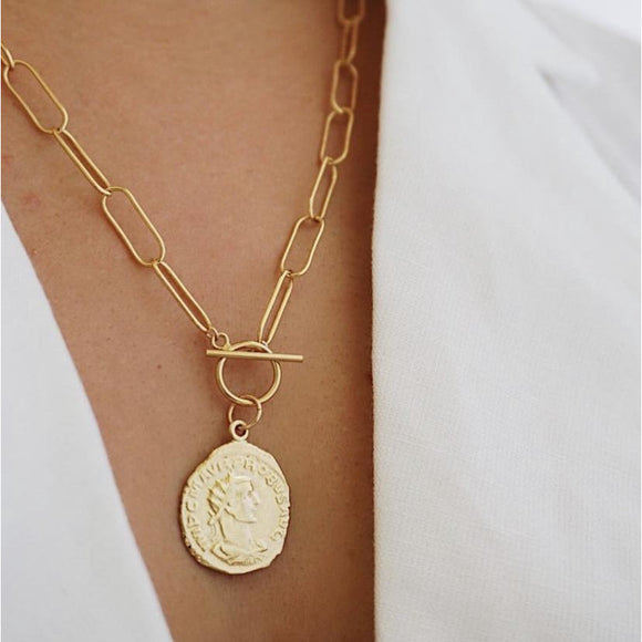 Zara Gold Coin Paperclip Chain Link Pendant Necklace