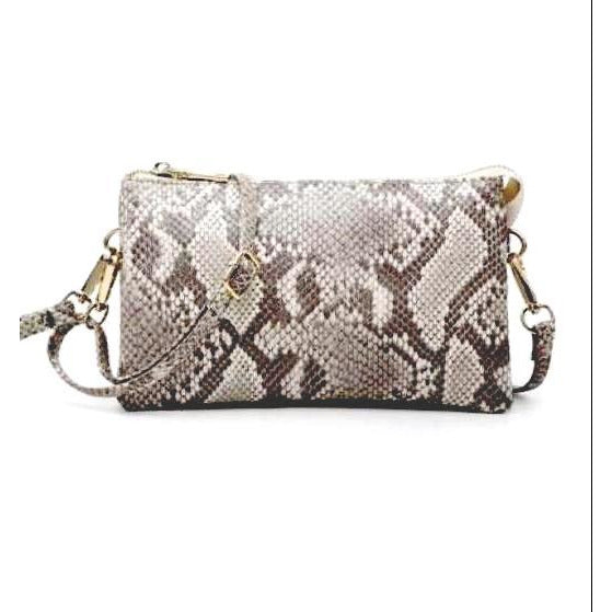 Ella Python Grey Tan 3 Compartment Wristlet Crossbody