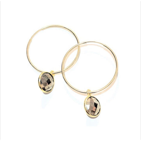 Amie Pyrite Hoop Earrings