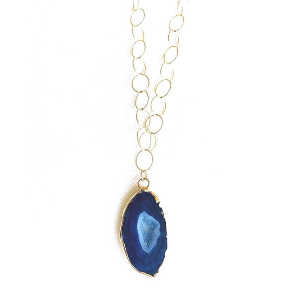 Zoe Blue Sliced Geode Stone Long Necklace