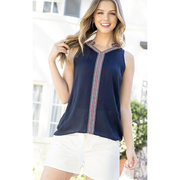 Allie THML Navy Sleeveless Top