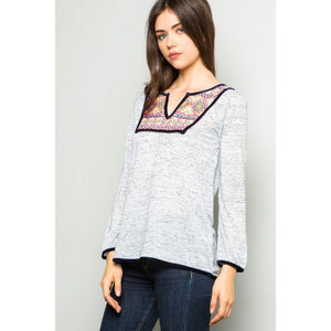 Arenna Embroidered Heathered Knit Top ftm282-Fig Tree Jewelry & Accessories