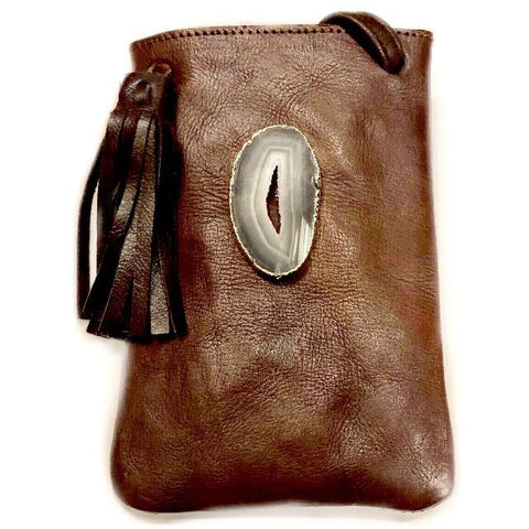 Lara Agate Leather Crossbody Handbag (Dark brown)