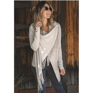 Carys Cement Fringe Sweater Lovestitch-Fig Tree Jewelry & Accessories