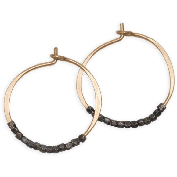 Addie Hematite Beaded Gold Hoop Earrings