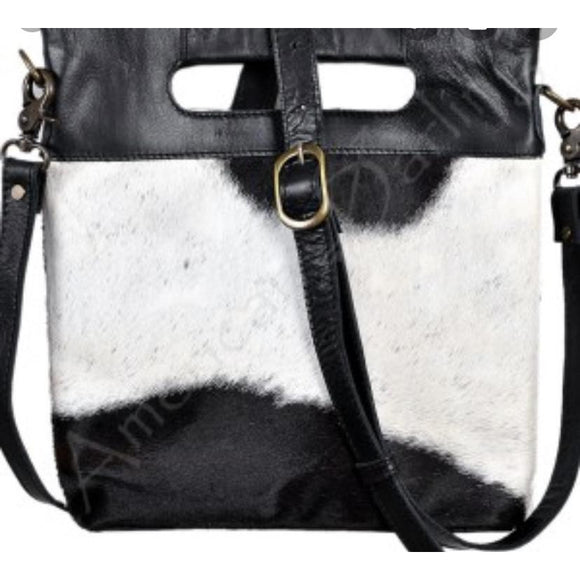 Brio Black Cowhide Crossbody Handbag