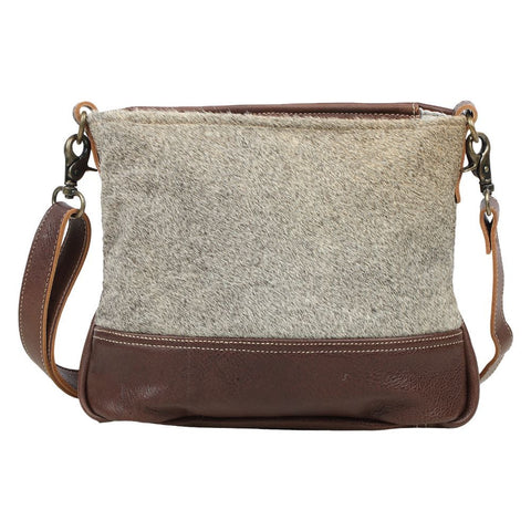 Brio Grey Cowhide Leather Crossbody Handbag