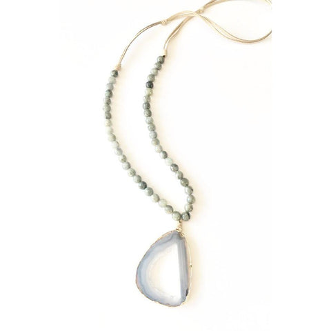 Abley Geode Labradorite and Suede Long Necklace