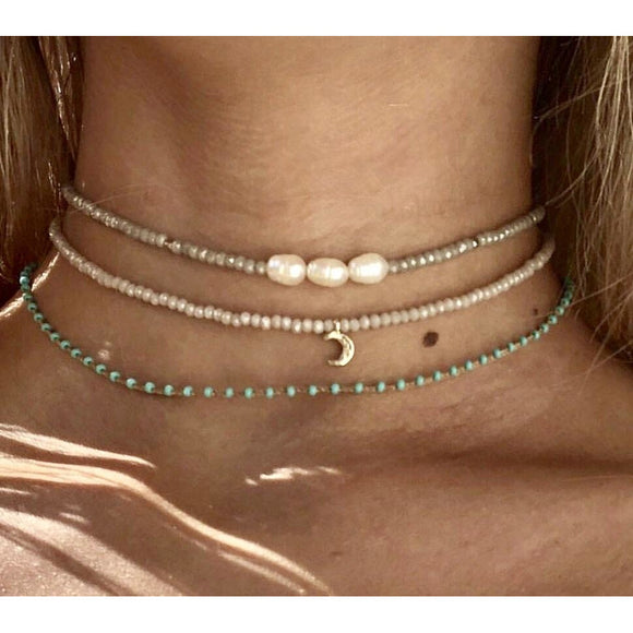 Lauren 3 Pearl Gold or Silver Beaded Choker (Top necklace)