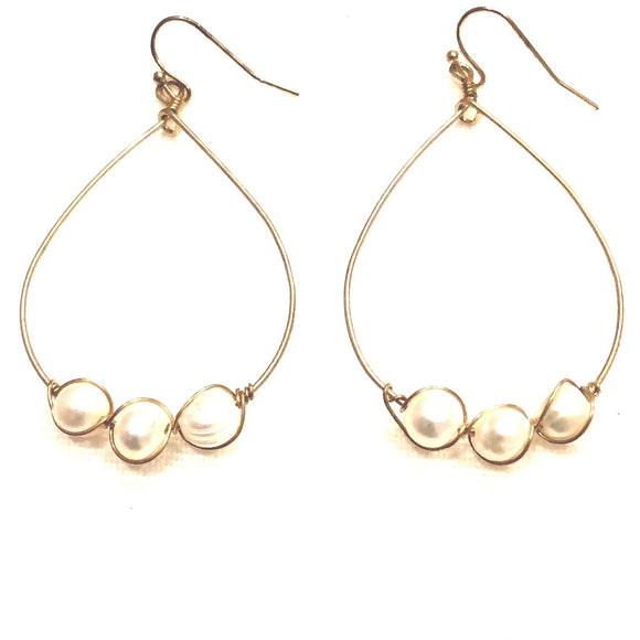 Addie Organic Hoop Wrapped Pearl Beaded Earrings