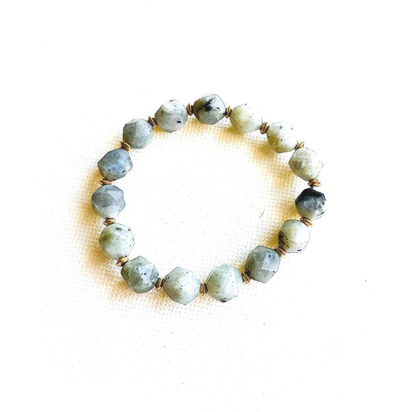 Lila Stacking Labradorite Brushed Gold Beaded Bracelet-Fig Tree Jewelry & Accessories