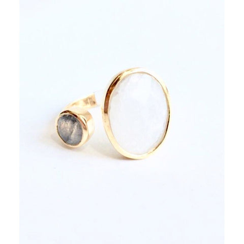 Amia Gold Labradorite Moonstone Double Ring