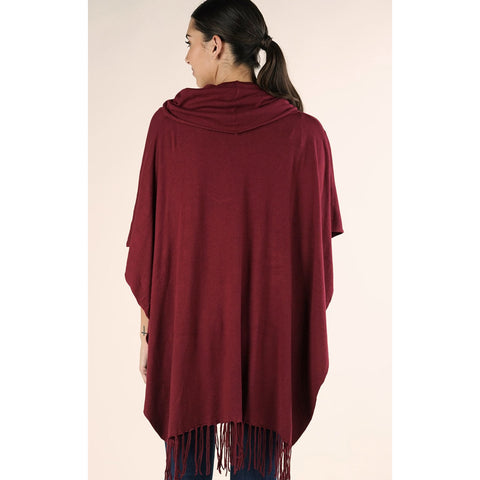 Amelia Fringe Poncho Lovestitch - Deep Red