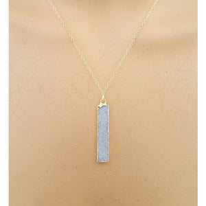 Anissa Sand Long Bar Druzy Necklace