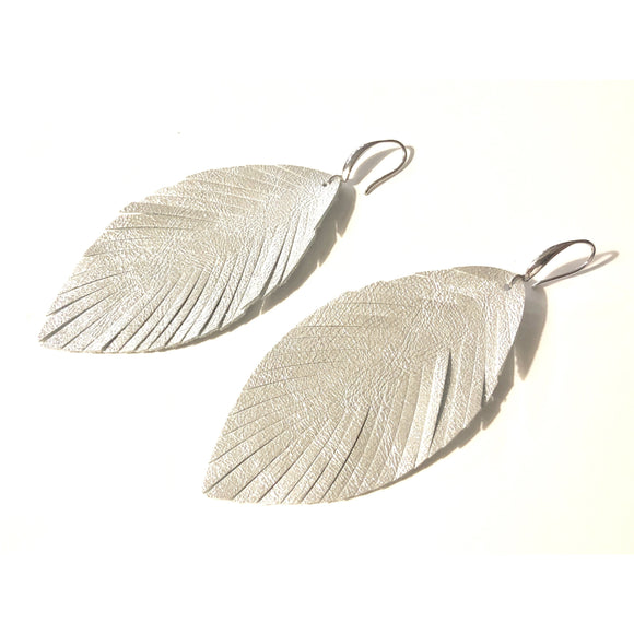 Alyssa  Python Embossed Feather Earrings