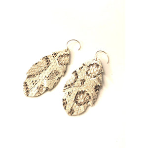 Alyssa Python Embossed Feather Earrings-Fig Tree Jewelry & Accessories