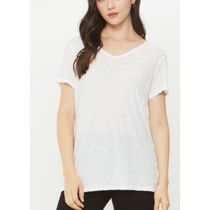 Malibu White V Neck T-Shirt by Comune C19X97