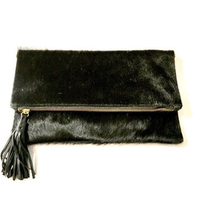Cleo Foldover Black Leather Clutch Handbag