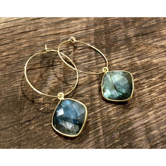 Amie Large Labradorite Medium Hoop Earrings