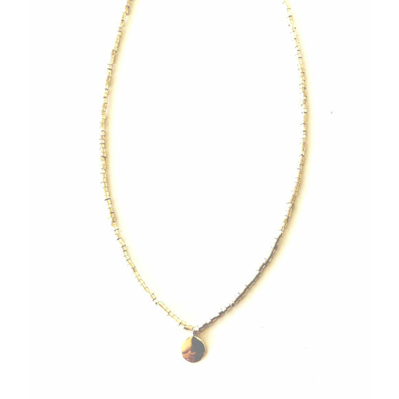 Lauren Gold Circle Gold Beaded Choker Necklace-Fig Tree Jewelry & Accessories