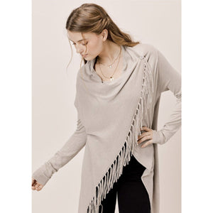Carys Cement Fringe Sweater Lovestitch