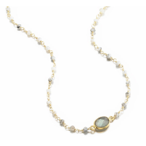 Mikaela Labradorite Moonstone Choker Necklace