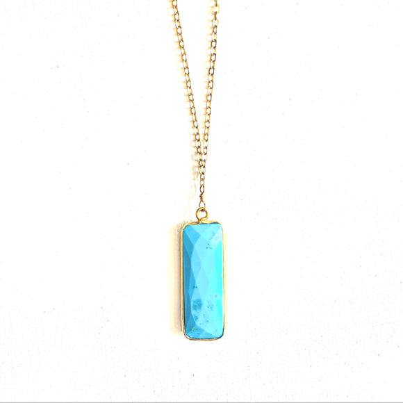 Grace Turquoise Rectangular Drop Necklace