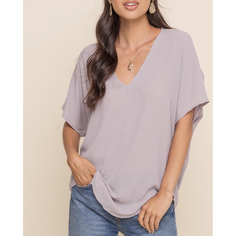 Ali Gull Grey Blush Lush Deep V Top t9977-i