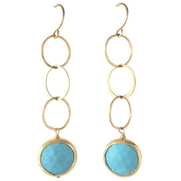Genoa Triple Gold Turquoise Earrings