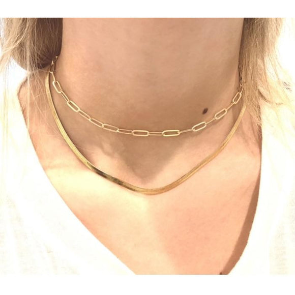 Ann Paperclip and Gold Herringbone Snake Necklace