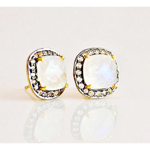 Lux Collection Square Moonstone & Topaz Studs