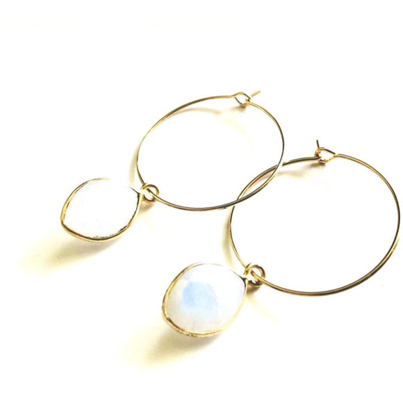 Amie Moonstone Hoop Earrings Med or Small