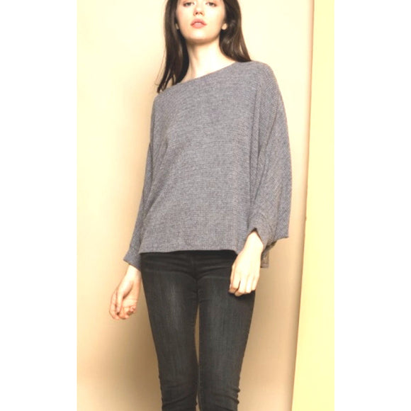 Lisa Dark Grey Long Slv Dolman Top tm4344-1
