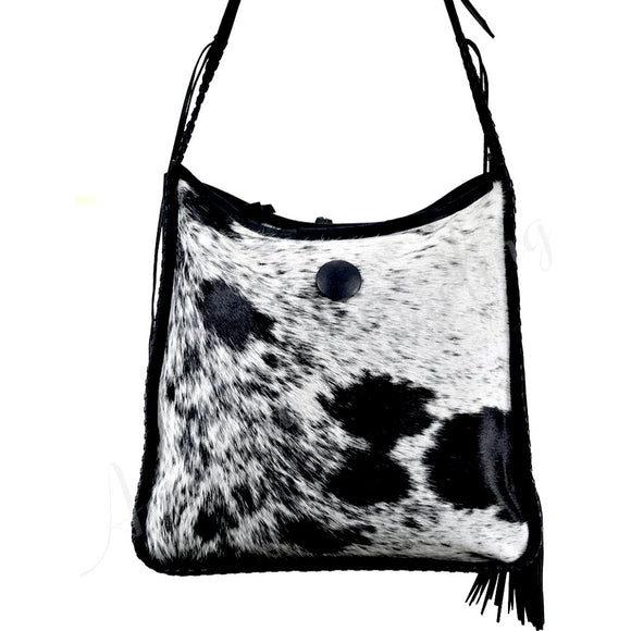 Bella Black Grey Cowhide Crossbody Handbag