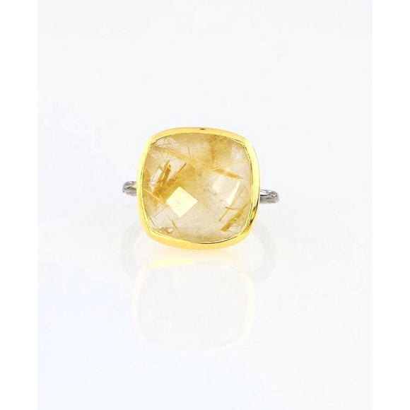 Amia Citrine Oxidized Silver Ring